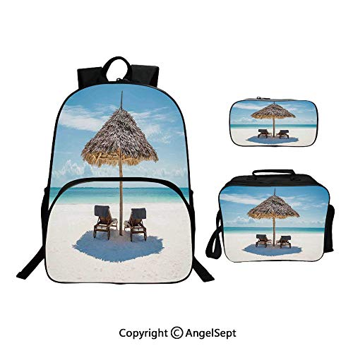 Hot Sale School Backpack For Girls 3 pcs per set,Wooden Sun Loungers Facing Eastern Ocean under a Thatched Umbrella in Zanzibar Turquoise Cream,With Lunch Box Pencil Bag Very Convinent (Sale Umbrellas Thatched)