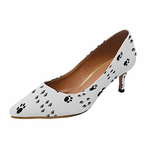 Interestprint Mujeres Low Kitten Talón De Punta Estrecha Zapatos De La Bomba Paw Print Multi 1