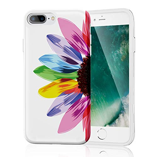 7 Color Rainbow (iPhone 8 Plus Case, iPhone 7 Plus Case for Girls, Stylish Clear Slim Fit Shockproof Glossy TPU Soft Rubber Silicone Cover Phone Case for iPhone 7 Plus/iPhone 8 Plus Seven)