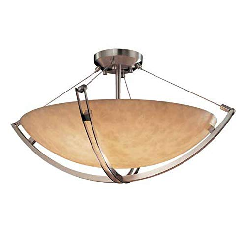 Justice Design Group CLD-9712 - Crossbar 24'' Semi-Flush Bowl - Round Bowl Shade - Brushed Nickel (Bowl Round Semi Flush 24')