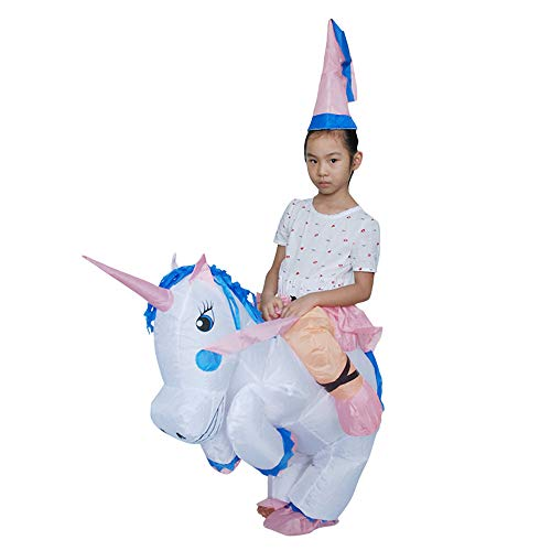 Inflatable Unicorn Rider Costumes Child Halloween Blow Up Riding Unicorn Costume Fits 120-150cm Tall Child -