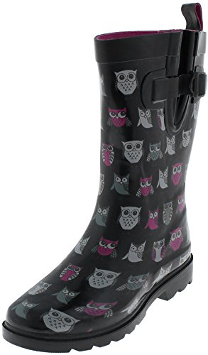 Capelli New York Ladies Sketchy Owls Printed Mid Calf Rubber Rain Boot Black Combo 10