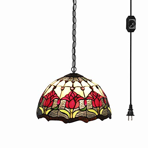STGLIGHTING Tiffany Baroque Style Glass Lampshade Ceiling Lamp Colorful Chandelier with 15ft Plug-in UL On/Off Dimmer Switch Cord for Bedroom Background Wall Dining Room Bulbs Not Included