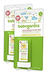 Babyganics Mineral-Based Baby Sunscreen Stick, SPF 50, .47oz Stick (Pack of 2)