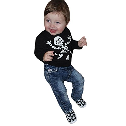 Toddler Baby Girls Boys Clothes 2Pcs Sets for 12 Months-5T,Comfortable Casual Halloween Skull Print T-Shirt Jeans Outfits (24Months-3T, Black)