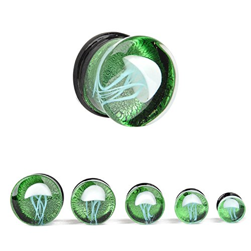 Yodeyhoo 2pcs Green Semi Precious Stones Ocean Jelly fish Glass Double Flared Tunnel Ear Plugs Expander Gauges 1/2