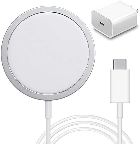 2021 Wireless Mag-Safe Charger, Fast-Charging Compatible with iPhone 12 Mini/12 Pro/12 Pro Max/SE 2/11 Series, AirPods Pro(Equipped with 20w Fast Charging Head