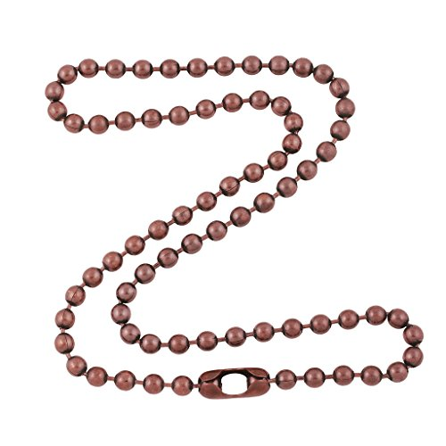 4.8mm Large Antique Copper Ball Chain Necklace with Extra Durable Color Protect Finish - 26 Inches