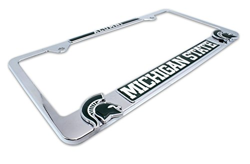 (Premium All Metal NCAA MSU Spartans Alumni License Plate Frame w/Dual 3D Logos (Michigan State))