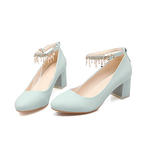 VogueZone009 Women's Buckle Kitten-Heels PU Solid Round Closed Toe Pumps-Shoes Blue oOtQdu3Gl