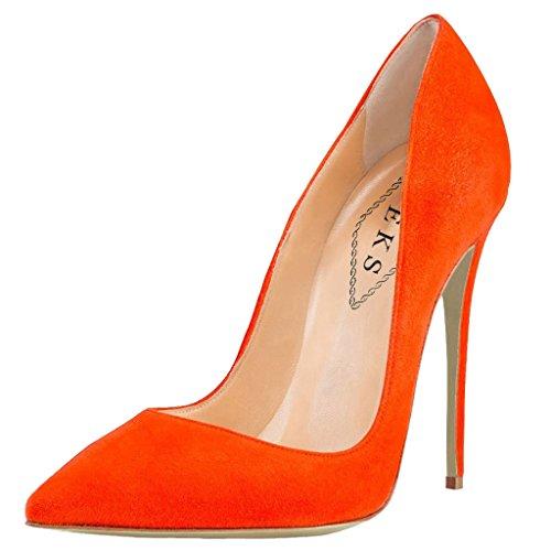 Tacón Orange wildleder Mujer De Naranja Zapatos Eks PfC677