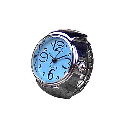Start Unisex Men Women Couple Ring Watch Creative Elastic Stainless Steel Finger Watch (Blue)