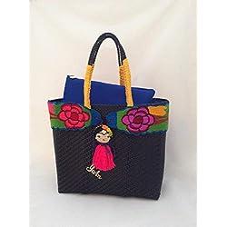 Bolsa Artesanal Mexicana tejida a mano incluye funda para iPad, color negra con amarillo, cinturón bordado en colores con frida kahlo