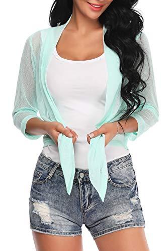 Aranmei Womens Sheer Shrug Cardigan Tie Front 3/4 Sleeve Bolero Jacket(Green, Medium) ()