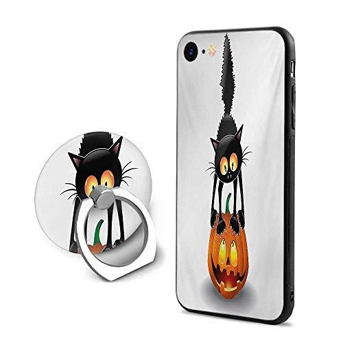 Halloween iPhone 6 Plus/iPhone 6s Plus Cases,Black Cat on Pumpkin Drawing Spooky Cartoon Characters Halloween Humor Art Orange Black,Design Mobile Phone Shell Ring Bracket ()