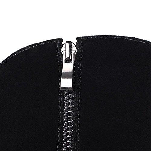 DecoStain Black Faux Zip Nubuck Knee Suede High Embroidery Women's Boots Decoration vvrq4