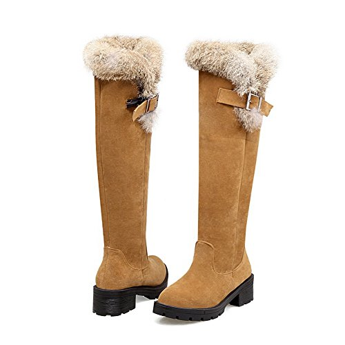 Round Yellow Toe Closed Boots Frosted Pull top WeenFashion Kitten on Heels Women's High 7ZwC1nqxI