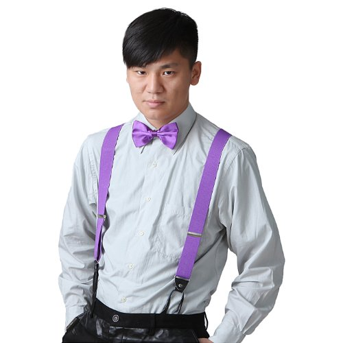 HDE Men's Matching Classic Button Hole Y-Back Suspenders & Pre-Tied Bow Tie Combo Sets (Purple)