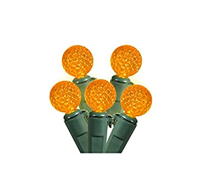 """Set of 50 Amber LED G12 Berry Christmas Lights 4"""" Bulb Spacing - Green Wire"""