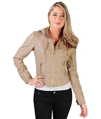 KRISP PU Leather Jacket (FBA_USA9288-TAU-14) Beige Womens Jacket