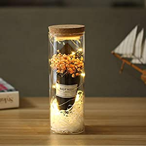 AmuseNd Preserved Flowers Kit Glass Dome Artificial Rose and Baby Breath Decor on Wooden Base for Home Display Gift for Birthday Wedding Anniversary Valentine's Day 115