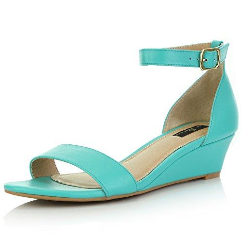 DailyShoes Women's Wedge Open Toe Strap Chunky Heel Sandal Fashion Shoes, Teal Green PU, 7 B(M) US ()