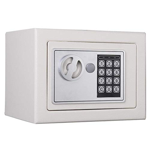 Electronic Digital Safe Home Safe Cash Lock Steel Security Box,White For Office or Home Use, Wall or Floor Mounted 4.6L