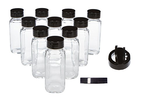 French Square Glass Spice Jars with Black Lids and Spice Shaker Pour Lids, 8 oz, Pack of 10