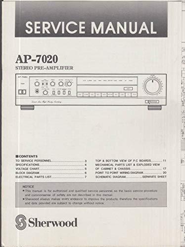 ORIGINAL Service Manual: Sherwood Model AP-7020 Stereo Preamp Preamplifier