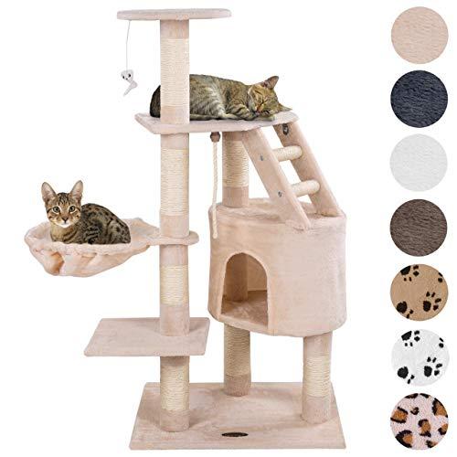 Happypet® Kratzbaum für Katzen mittelgroß 120 cm hoch, Kletterbaum Katzenbaum, CAT017-4 stabile Säulen mit Natur-Sisal…