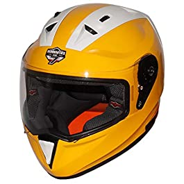 Steelbird SA-1 7Wings Twotone Aeronautics Full Face Helmet (580MM Medium, Glossy M.Yellow/White with Plain Visor)