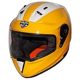 Steelbird SA-1 7Wings Twotone Aeronautics Full Face Helmet (600MM Large, Glossy M.Yellow/White with Plain Visor)