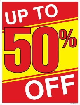 Up to 50 Percent Off (%) Sale Window Sale Sign Posters Retail Business Store Signs (P15 - 22