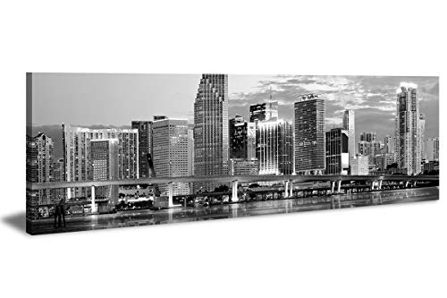 "LP LIFE ART-Wall Art City Canvas Prints Decor-Black and White Panoramic Cities-Miami Canvas Wall Art-Modern Wall Decor/Home Decoration Stretched and Framed,Ready to Hang 14"" x48"