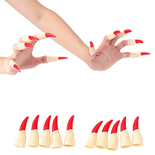 YOUDirect Fake Finger Nails - 10 Pcs Simulation Witch Ghost Nails Halloween Tricky Prop Toy Masquerade Decoration Party Costume Cosplay Accessory]()