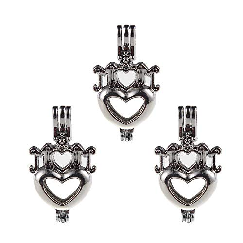 (5pc Pearl Cage Silver Double Love Heart Locket Pendant Oil Diffuser 3520mm Gift)