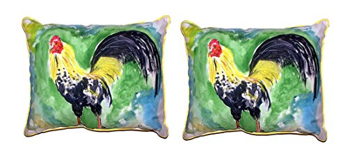 Betsy Drake Polyester Patio Furniture Pillows Pair Of Bantam Rooster Outdoor Pillows 16 Inch X 20 Inch 20 X 16 X 4 Inches Multicolored - Bantam Rooster