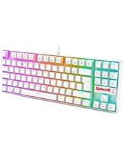 Redragon K552 60% Mechanical Gaming Keyboard RGB Backlit Wired with Red Switches Cherry MX Equivalent for Windows Gaming PC, UK QWERTY (White)