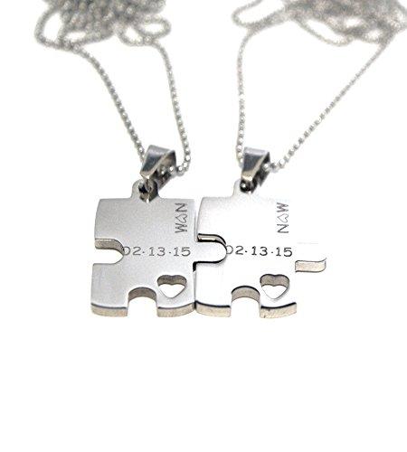 Puzzle Piece Necklace Set - Engraved Puzzle Couples Gift Set ()