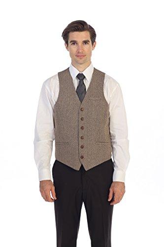 (Gioberti Men's 6 Button Slim Fit Formal Herringbone Tweed Vest, Herringbone Khaki, 5X Large)