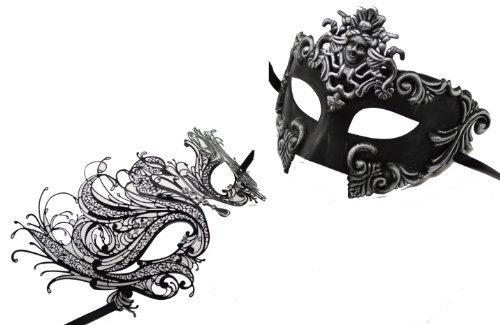 [New Matching Couple Venetian Black Half Face Masquerade Masks Collection 26] (Couple Masquerade Masks)