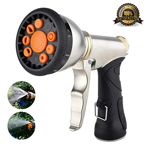 Hose Nozzle Sprayer - Hose Nozzle Garden Hose Nozzle Heavy Duty Metal Hose Spray Nozzle with 9 Adjustable Patterns Front Trigger Hose Sprayer Water Hose Nozzle for Cleaning, Watering Garden, Washing Cars, Bathing Pets