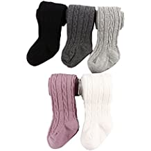 Looching 5 Pack Baby Toddler Girls Cute Cable Knit Cotton Tights Pantyhose Leggings Stocking Pants
