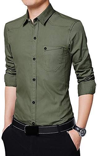 IYFBXl Camisa de algodón Work Business/Basic Plus Size para Hombre - Color sólido/Manga Larga/Verano, Verde Militar, XL: Amazon.es: Deportes y aire libre