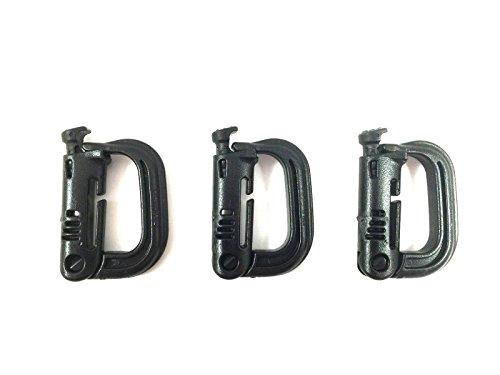 - ITW GrimLoc - Locking D-Ring for Molle Gear - Tactical Accessory Locking Carabiner (3 pack) (Black)