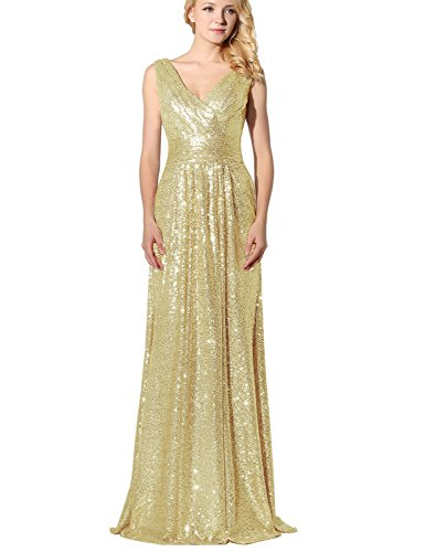 Belle House Long Champagne Sequins Prom Dress V Neck Party Ball