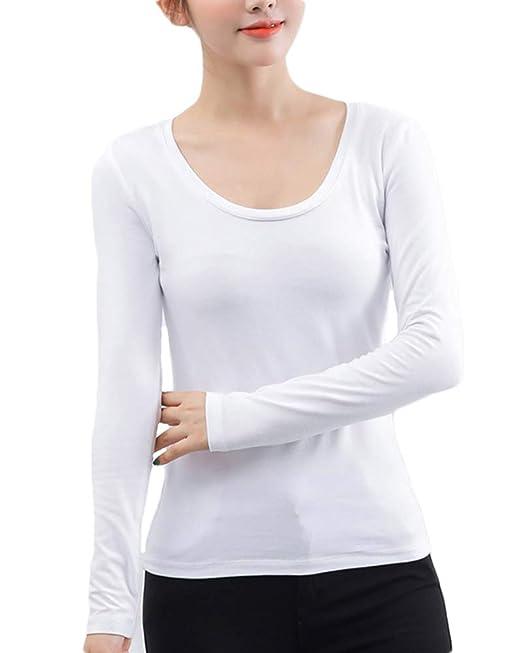 Camiseta Interior Térmica Ligera con Cuello Redondo para Mujer Blanco M