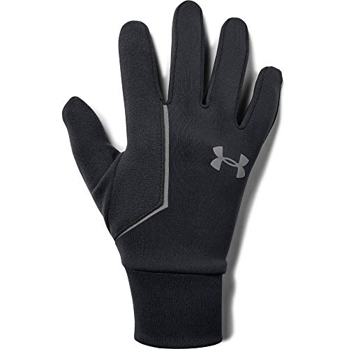 Under Armour Men's Ss Coldgear infared Run Liner Gloves, Black (001)/Silver, Large (Gloves Motorcycle Armour Under)