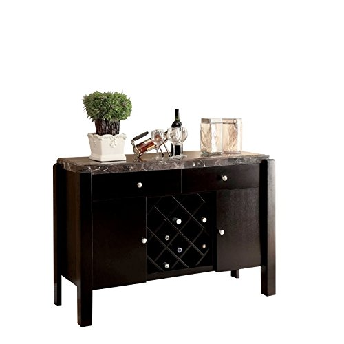 - Furniture of America Ramsy Marble Top Buffet in Black