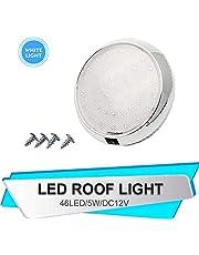 LED Plafondlamp, 12V Auto Dome Interieur Daklamp voor Camper Camper Camper RV Trailer Truck Voertuig Boot met 46 LED-verlichting, wit